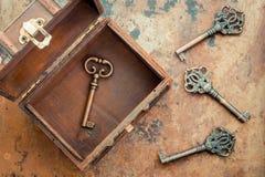 Old keys. On vintage background Stock Images
