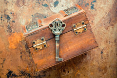 Old keys. On vintage background Royalty Free Stock Photos