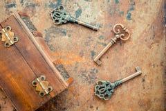 Old keys. On vintage background Royalty Free Stock Photo