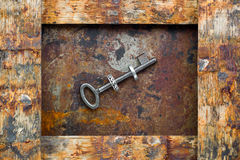 Old keys. On vintage background Stock Photos