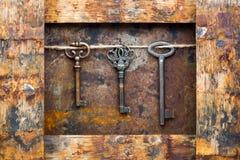 Old keys. On vintage background Stock Image