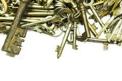 Old keys on white. Background stock image