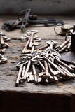 Old keys on workbench B Stock Photos