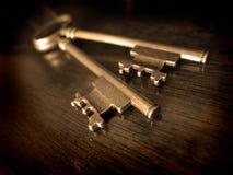 Old Keys on Worn Wood Stock Photography