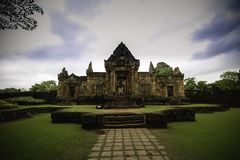 An old Khmer temple in Buriram stock photography