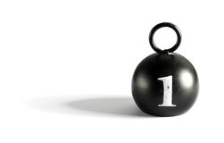 Old 1 kilogram counterpoise weight. Old round black 1 kilogram counterpoise weight with handle on a white background with copy space and shadow Stock Photo