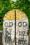 Old kilometer marker in France Stock Images