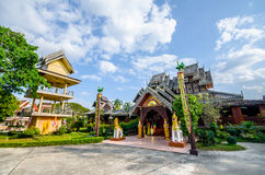 Old king relate. Old teak wood Temple in payao province thailand Stock Image