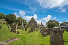 Kirkoswold Kirk Ruins and Old KirkYard in South Ayrshire Scotland stock images