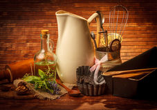 Old kitchen cooking utensil. In vintage background Royalty Free Stock Photos