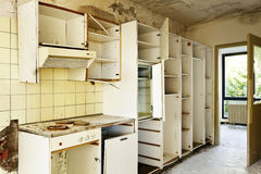 Old kitchen destroyed Stock Image