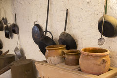 Old kitchen. Some old utensils in an old and rural kitchen stock photography
