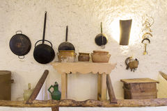 Old kitchen. Some old utensils in an old and rural kitchen royalty free stock photo