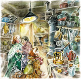 Old kitchen in soviet style. Old kitchen in USSR soviet style communal apartment. Mother and son homecoming Royalty Free Stock Photos