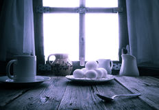 Old kitchen table rural cottage morning Royalty Free Stock Photo