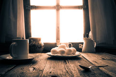 Old kitchen table rural cottage morning Stock Photo