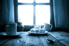 Old kitchen table rural cottage morning Stock Photography
