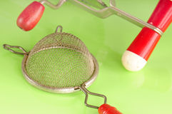 Old kitchen tools. Old fashioned kitchen tools on counter Royalty Free Stock Photography