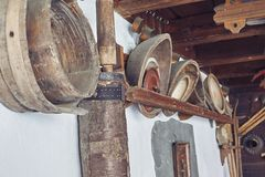 Old kitchen tools in a wall. Old kitchen tools on the wall royalty free stock photos