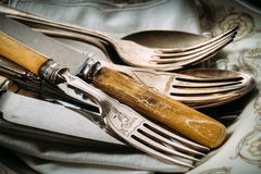 Old kitchen utensils. On the table Royalty Free Stock Image