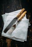 Old kitchen utensils. On the table Stock Photo