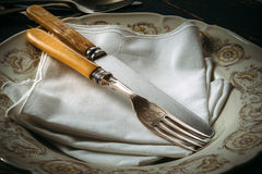 Old kitchen utensils. On the table Stock Images