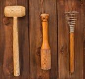 Old kitchen utensils stock image