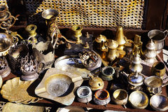 Old kitchenware trays, teapots, coffee turks, samovars, pans, plates, Stock Image