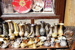 Old kitchenware trays, teapots, coffee turks, samovars, pans, plates, Royalty Free Stock Images