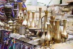 Old kitchenware trays, teapots, coffee turks, samovars, pans, plates, Royalty Free Stock Photos