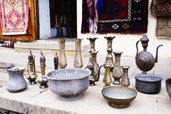Old kitchenware trays, teapots, coffee turks, samovars, pans, plates, Royalty Free Stock Photography
