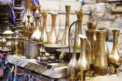 Old kitchenware trays, teapots, coffee turks, samovars, pans, plates, Stock Images