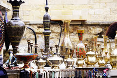 Old kitchenware trays, teapots, coffee turks, samovars, pans, plates, Royalty Free Stock Image
