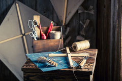 Old kite and elements to construct it Stock Photography