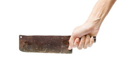 Old knife in hand on white background Royalty Free Stock Photography