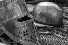 Old knight armor is lying. On the table royalty free stock images