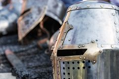 old knight armor is lying royalty free stock photography