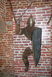 The old knight from castle walls royalty free stock image
