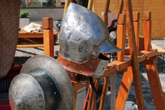 Old knight helmets. part of knightly armor. Royalty Free Stock Image