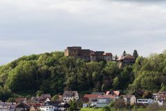 old knight& x27;s castle at south germany rural countryside in spring royalty free stock images