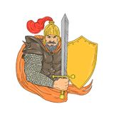 Old Knight Sword Shield Drawing. Drawing sketch style illustration of an Old medieval Knight wielding a Sword and Shield viewed from front on isolated background Royalty Free Stock Photo