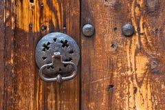 Old Knocker. Metal knocker on an old wooden door in Plovdiv, Bulgaria Royalty Free Stock Photos