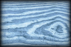 Old Knotted Blue Pine Wood Board Vignetted Grunge Texture Detail Stock Photography