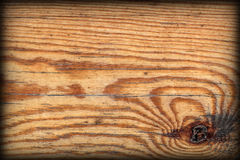 Old Knotted Pine Wood Board Vignetted Grunge Texture Detail Royalty Free Stock Photography