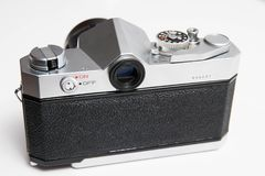 Old  Konica 35 mm camera isolated on white close up Stock Image
