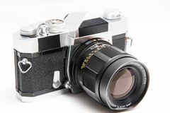Old  Konica 35 mm camera isolated on white close up Stock Images
