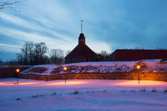 Old Korela fortress in the February twilight. Priozersk, Russia Royalty Free Stock Photos
