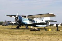 Old An-2 at Korotich Airshow. Antonov An-2 waiting for parachutist at Korotich Airshow 2015. Kharkiv, Ukraine. 22.08.2015 Stock Photo