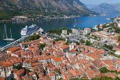 Old Kotor town in bay, Montenegro Royalty Free Stock Photos
