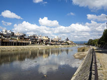 Old Kyoto from Kamo River Stock Photography